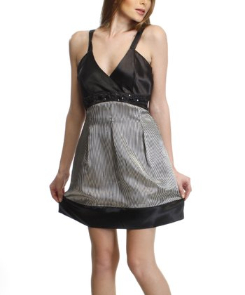 Black & Gray Surplice Sleeveless Dress