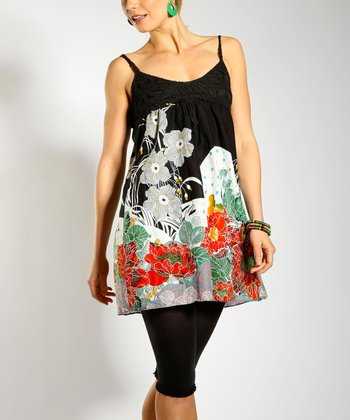 Black & Red Floral Babydoll Top