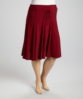 Burgundy Tie-Waist Skirt - Plus