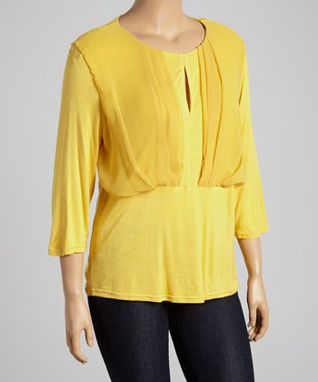 Yellow Pleated Scoop Neck Top - Plus