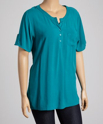 Teal Tab-Sleeve Henley - Plus