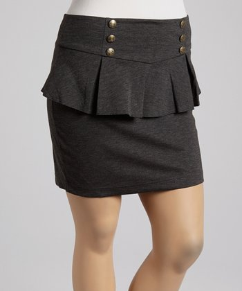 Charcoal Peplum Skirt - Plus