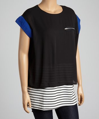 Royal Blue & Black Color Block Stripe Top- Plus