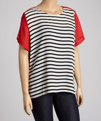 Red & Black Stripe Color Block Top - Plus