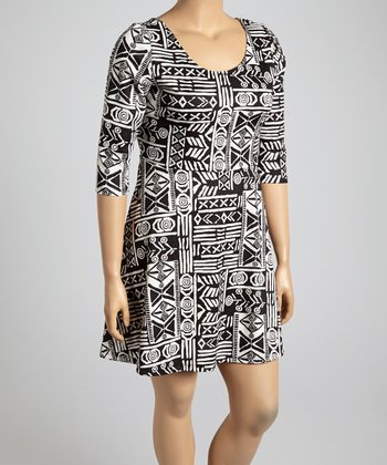 Black & White Abstract Hi-Low Dress - Plus