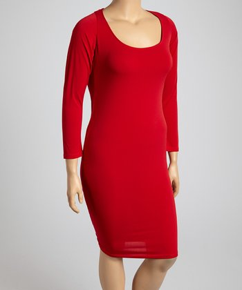 Red Scoop Neck Shift Dress - Plus