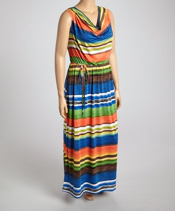 Blue & Brown Stripe Drape Neck Maxi Dress - Plus