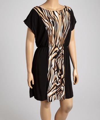 Brown Liquid Scoop Neck Dress - Plus