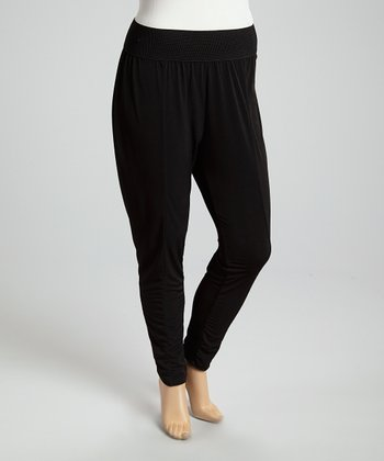 Black Ruched Lounge Pants - Plus