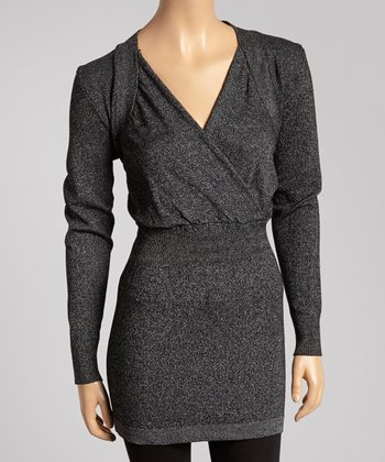 Black & Gray Marled Knit Surplice Tunic