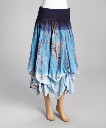Brown & Blue Tie-Dye Ruffle Peasant Skirt - Women