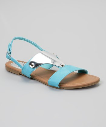 Sky Blue Metal Embellished Sandal