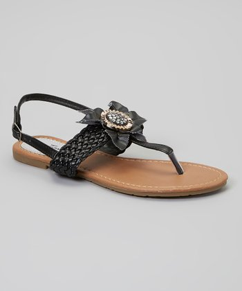 Black Braided-Strap Flower Sandal