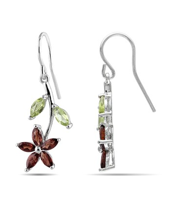 Garnet, Peridot & Sterling Silver Daisy Charm Drop Earrings