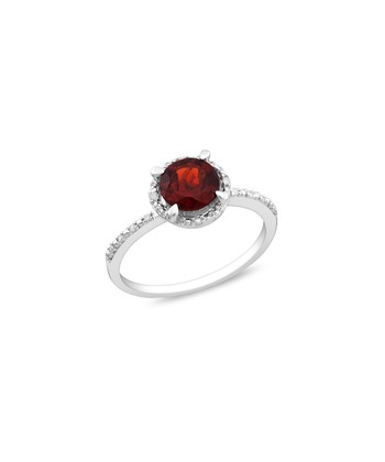 Diamond, Garnet & Sterling Silver Fashion Ring