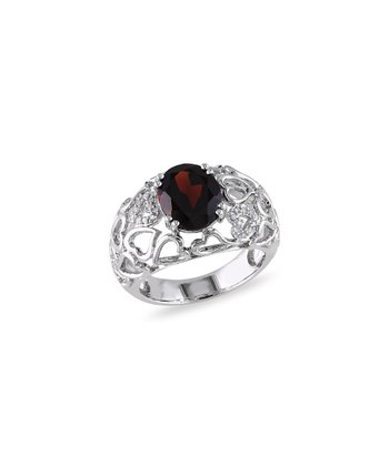 Diamond, Garnet & Sterling Silver Heart Lattice Ring