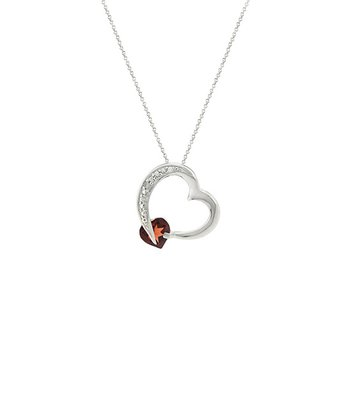 Diamond, Garnet & Sterling Silver Heart Pendant Necklace