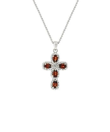Diamond, Garnet & Sterling Silver Cross Pendant Necklace