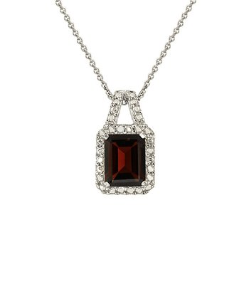 Diamond, Garnet & Sterling Silver Emerald Cut Pendant Necklace