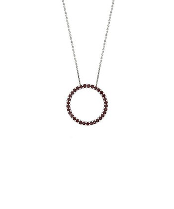 Garnet & Sterling Silver Hoop Pendant Necklace