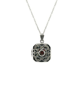 Garnet, Marcasite & Sterling Silver Locket Pendant Necklace