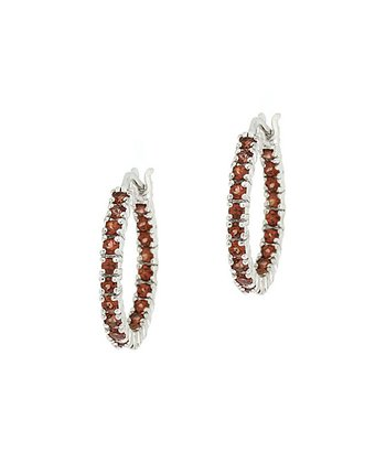 Garnet & Silver Hoop Earrings