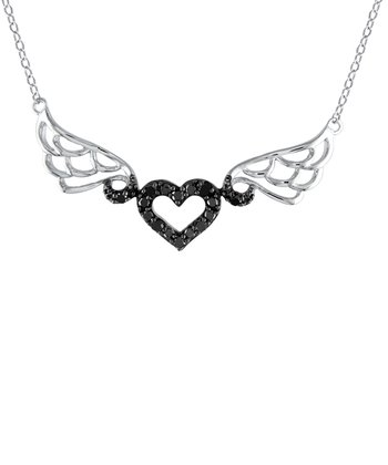 Diamond & Black Sterling Silver Winged Heart Necklace