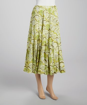 Green Abstract Pleated Skirt