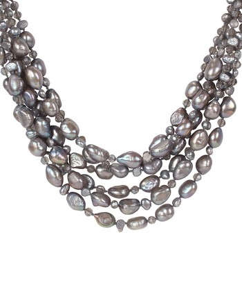 Gray Pearl & Glass Multi-Strand Necklace