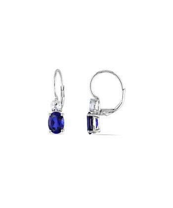 Blue Sapphire & White Sapphire Lever-Back Earrings