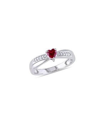 Ruby & Diamond Heart Ring