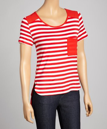Red & White Stripe Pocket Scoop Neck Top