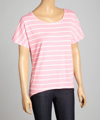 Blush Pink & White Stripe Scoop Neck Hi-Low Top