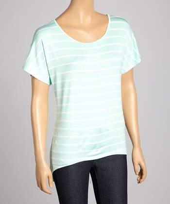 Aqua & White Stripe Scoop Neck Hi-Low Top