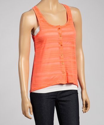 Sunrise Coral Sheer Button-Up Scoop Neck Tank