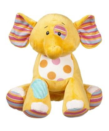GANZ Yellow Cuddly Calico Elephant Plush Toy