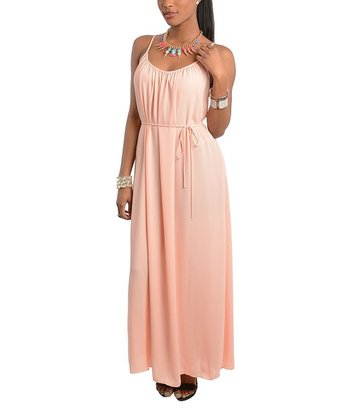 Peach Scoop Neck Maxi Dress - Women