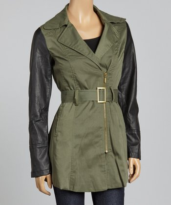 Olive & Black Twill Faux Leather Asymmetrical Jacket - Women