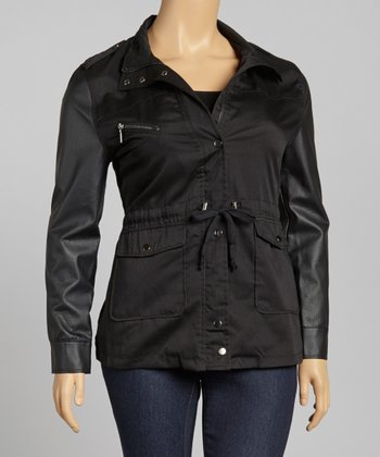 Black Twill Faux Leather Tie-Waist Jacket - Plus