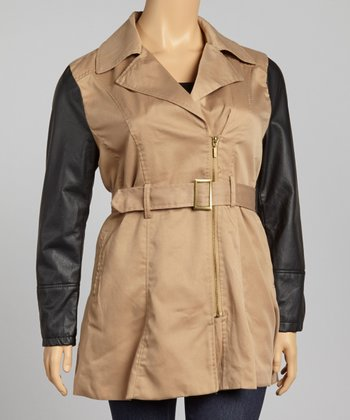 Camel & Black Twill Faux Leather Asymmetrical Jacket - Plus