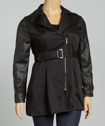 Black Twill Faux Leather Asymmetrical Jacket - Plus