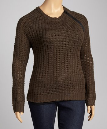 Olive Pointelle Zipper Scoop Neck Sweater - Plus