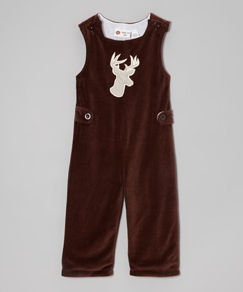 Brown Reindeer Velour Overalls - Infant & Toddler