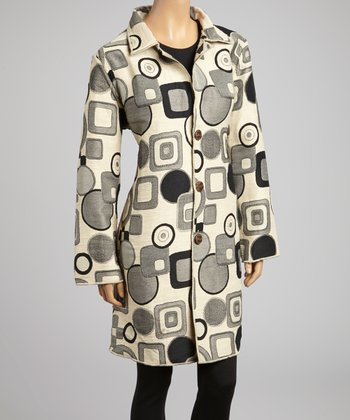 Ivory & Black Reversible Abstract Coat