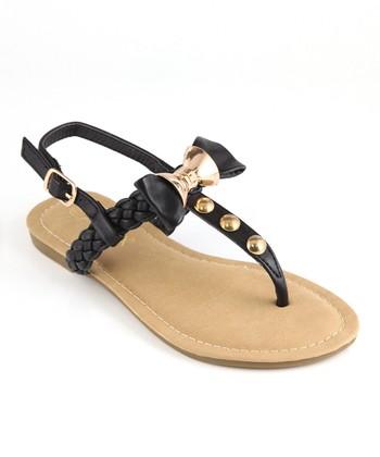 Anna Shoes Black & Gold Bow Sandal