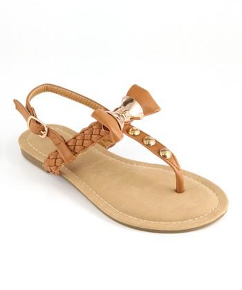 Anna Shoes Tan & Gold Bow Sandal