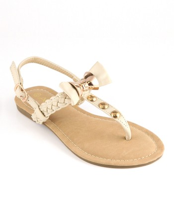 Anna Shoes White & Gold Bow Sandal