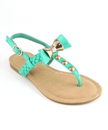Anna Shoes Teal & Gold Bow Sandal