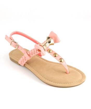 Anna Shoes Blush & Gold Bow Sandal