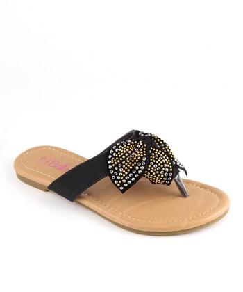 Bella Marie Black Studded Bow Sandal